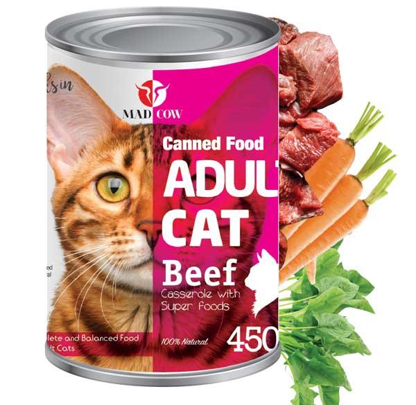کنسرو گربه بالغ 400گرمی با طعم گوشت گاو