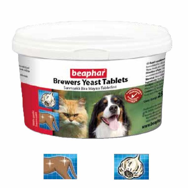 قرص مخمر و ضد ریزش مو بیفار با طعم سیر برای سگ و گربه