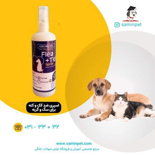 اسپری ضد کک و کنه آسوپت برای سگ و گربه