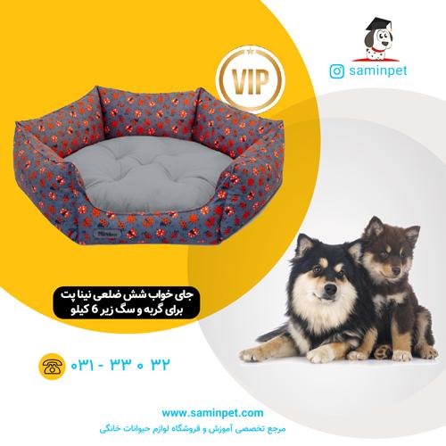 جای خواب شش ضلعی نینا پت طرح کفشدوزک برای گربه و سگ زیر 6 کیلو