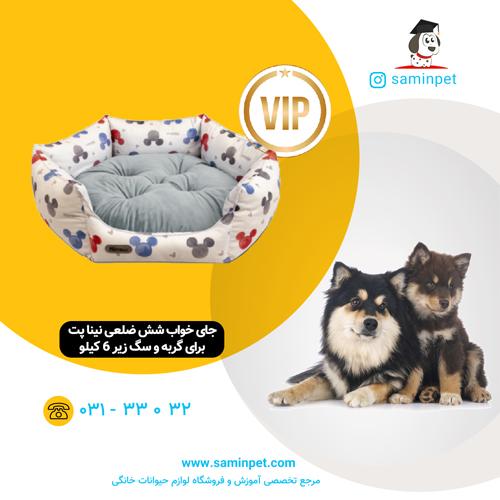 جای خواب شش ضلعی نینا پت طرح میکی موس برای گربه و سگ زیر 6 کیلو