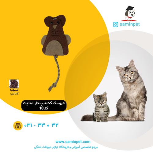 عروسک کت نیپ دار گربه نینا پت دست دوز