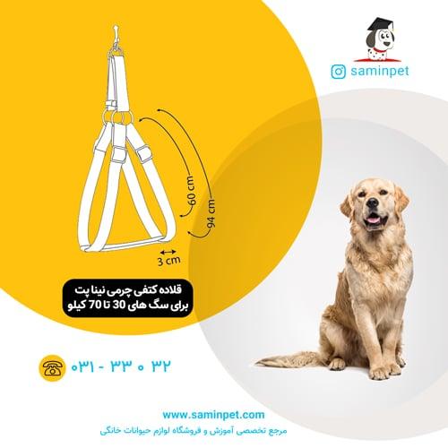 قلاده کتفی چرمی نینا پت برای سگ 30 تا 70 کیلو