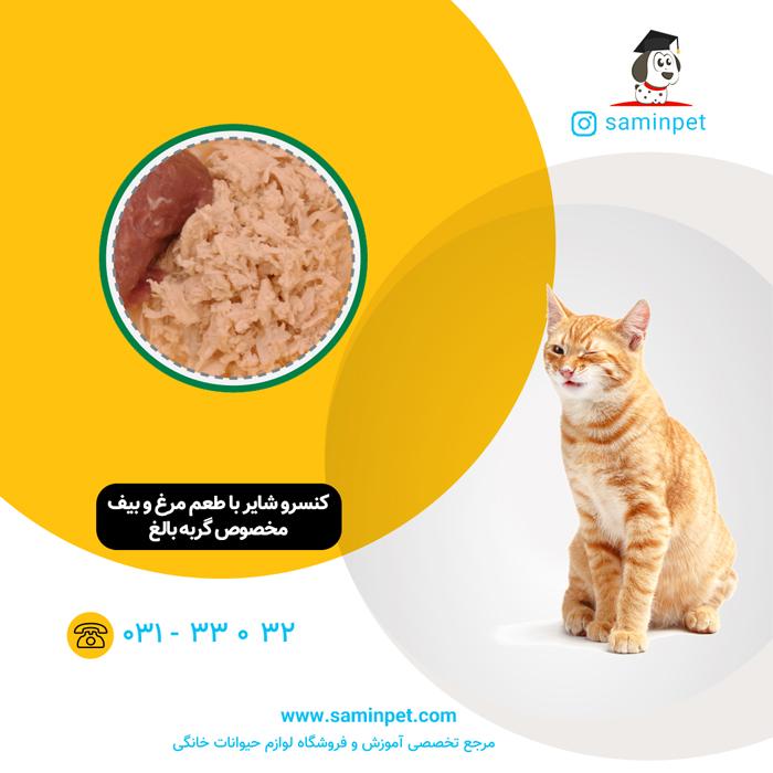 کنسرو شایر با طعم مرغ و بیف مخصوص گربه بالغ