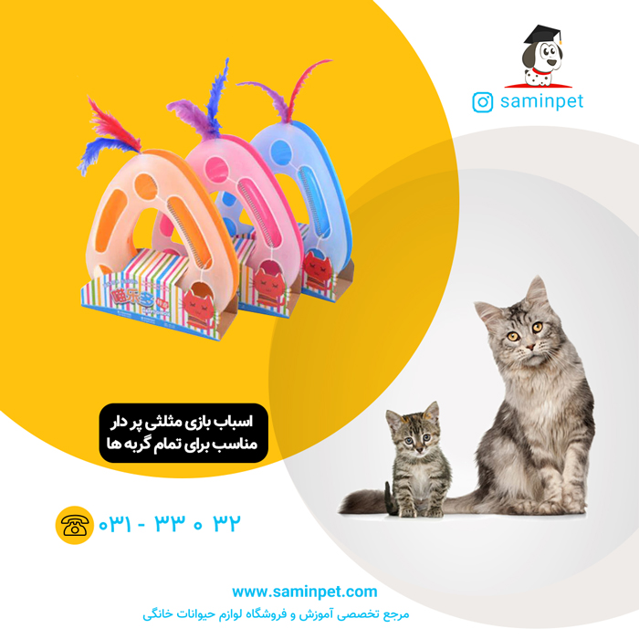 اسباب بازی مثلثی پر دار مخصوص گربه