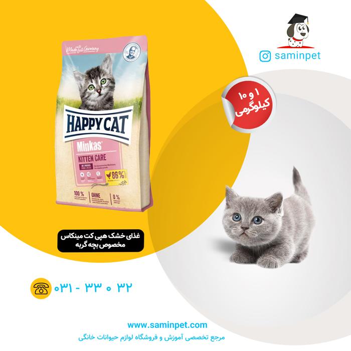 غذای خشک هپی کت مینکاس مخصوص بچه گربه